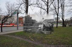 Leningrad 1942/ St.Petersburg 2012. Stachek avenue. Gunners in position.