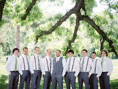Such sweet groomsmen in matching ties and suspenders! Photo: Emily Steffen