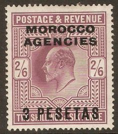 Morocco Agencies 1907 3p on 2s.6d Pale dull purple. SG121.