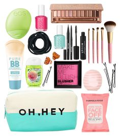 """""""What's in my makeup bag"""" by nazzbelle ❤ liked on Polyvore featuring beauty, H&M, BOBBY, Maybelline, Formula 10.0.6, Forever 21, Stila, Too Faced Cosmetics, Topshop and Essie"""