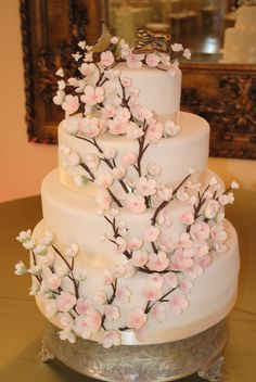 Cherry Blossom Wedding Cake by Crumbs By Andrea