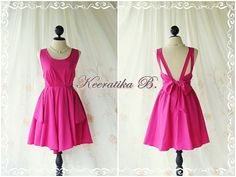 A Party - V Shape Dress - Cocktail Dress Wedding Bridesmaid Dress Party Prom Dress Backless Dress Homecoming Magenta Pink Dress on Etsy, $46.30