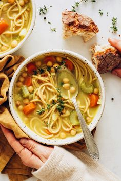 Sourdough bread beside a bowl of chickpea noodle soup topped with fresh thyme Vegan Stew, Vegan Soups, Baker Recipes, Cooking Recipes, Delicious Vegan Recipes, Vegetarian Recipes, Whole Food Recipes, Soup Recipes, Ww Recipes