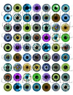 Eyes Eyeballs Iris Digital Graphics Download Digital Collage Sheet Instant Download 1 inch circles bottlecap image