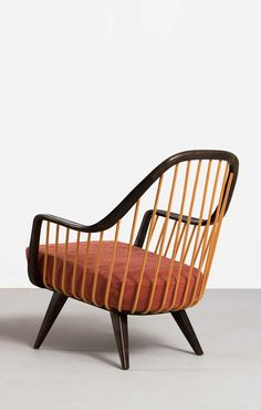 Anonymous; Mahogany and Beech Lounge Chair, 1950s.