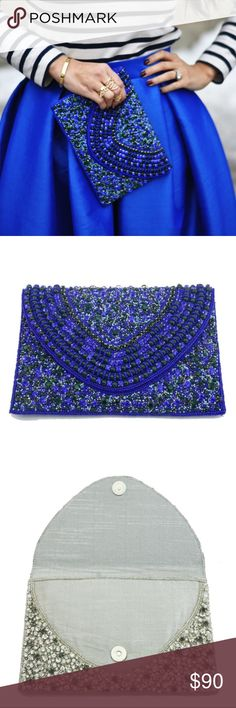 New Arrival! Blue Hand Beaded Clutch Beautiful blue hand beaded clutch. Perfect piece for holiday parties and nights on the town. Gorgeous beads that are even prettier in person. I love this piece. Silver is available in a separate listing. Please let me know if you have any questions.  18k gold plated metals Nickel and lead free Bags Clutches & Wristlets