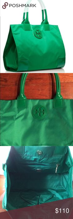 Tory Burch Ella tote Gorgeous Tory Burch Ella tote in Emerald City green with original tag. Lightly worn. Non-smoking home. Minor scratches on bottom corners of bag and on inside of one handle as shown in photos. Holds a lot. 3 interior pockets for better organization. Tory Burch Bags Totes