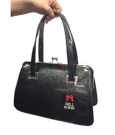 Hell Bunny Black Pearlescent Tippi Kiss Lock Bag