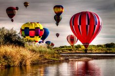 West bank of the Rio Grande river on the last day of the Balloon Fiesta October 2012. By Steven Yabek - #NewMexico #Balloons