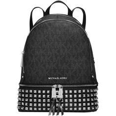 Pre-owned Michael Kors Michael Rhea Signature Studded Backpack ($325) ❤ liked on Polyvore featuring bags, backpacks, black, notebook backpack, tablet travel bag, michael kors, zipper bag and tablet backpack