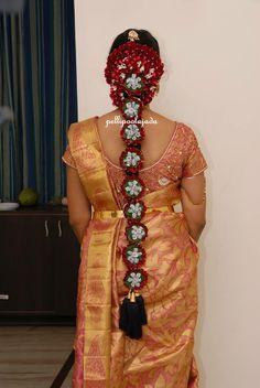 south indian bridal hair style  pelli poola jada  indian