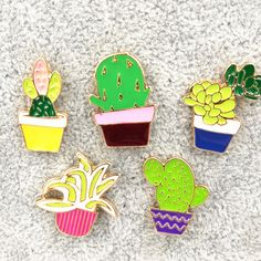 X195 New Oil Drop Cute Cactus Pots Orchid  Metal Brooch Pins Button Pins Girl Jeans Bag Decoration Gift Wholesale