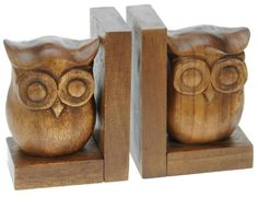 Hand Carved Owl Bookends - Beautifully Handmade From Wood - Lovely Decorative Item & A Unique Christmas Gift (size Large 18 x 13 x 9cm) Top Christmas Gift Idea : High Quality Traditional Wooden Present For Children, Adults or Animal Lovers!