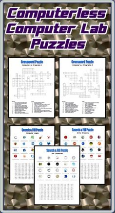 """You are a computer teacher and you've just been told the computer lab will be unavailable for a week for online testing. Nevertheless, you are still expected to teach computers in the cafeteria. What do you do? Buy these five puzzles in PDF format and you're all set! Included are two crossword puzzles, three search & fill puzzles, and the answer sheet. These puzzles are also excellent for when you are out for the day and you expect a """"non-technical"""" substitute! ($)"""