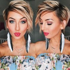 Excited to share the latest addition to my shop: Recycled bicycle inner tube hand painted feather earrings Longer Pixie Haircut, Short Pixie Haircuts, Pixie Hairstyles, Short Hairstyles For Women, Pixie Bob Haircut, Haircuts For Fine Hair, Bob Haircut With Undercut, Pixie Haircut Round Face, Haircut For Fat Women