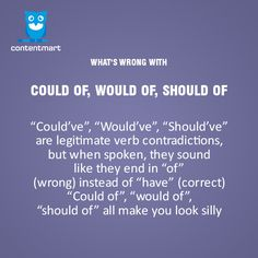 """What's wrong with Could of, Would of, Should of""""? #englishgrammar"""