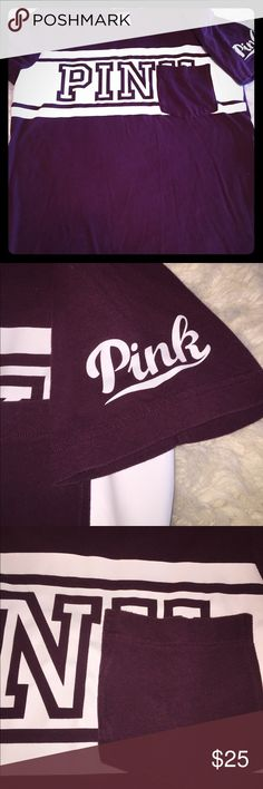 Victoria Secret Pink Maroon Soft tee Size: Medium  Has pocket on front Never worn! Very cute, just not my size PINK Victoria's Secret Tops Tees - Short Sleeve