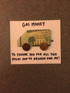 A cute way to give cash, specifically gas money! A cute way to give cash, specifically gas money! Gag Gifts, Craft Gifts, Cute Gifts, Funny Gifts, Party Gifts, Little Presents, Little Gifts, Diy Christmas Gifts, Holiday Gifts