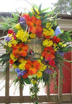 XL Tropical floral bird cage wreath Door wreath by SKSteinWreaths, $115.00
