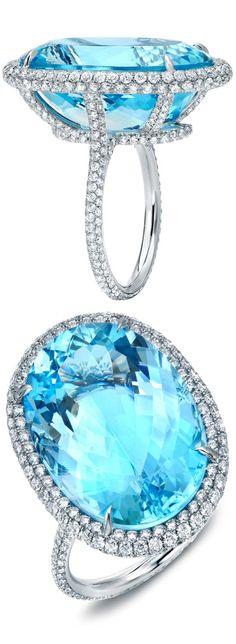 Spectacular Huge Aquamarine and Diamond Ring - Haute Tramp