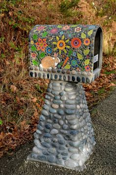 Mosaic Mailbox on Stone Column • Firehouse Tileworks by Clare Dohna