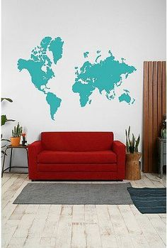 world map decal in beige. i would like an accent wall decorated with travel memorabilia.Follow our travels around the world at http://wetravelandblog.com