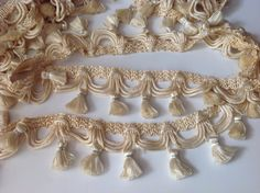 """Vintage trim with tassels, 145"""", ivory-gold by Mywaycrochet on Etsy"""