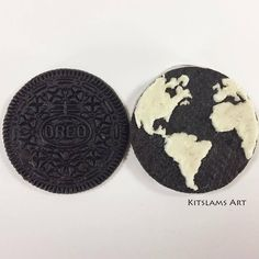 I'm traveling around the Globe with this Oreo Cookie of planetary proportions. 😆🍪🌎 https://www.youtube.com/watch?v=8EtYXke7OA8 by Kitslams Art YouTube | Instagram | Facebook