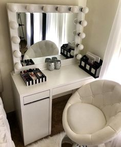 Hollywood Vanity Mirror is part of Room decor bedroom DESCRIPTION DIMMER INCLUDED! Large makeup mirror with lights for every makeup lover Add a USB port and outlet for all of your n - Room Ideas Bedroom, Bedroom Decor, Master Bedroom, Bed Room, Master Suite, Bedroom Green, White Bedroom, Bedroom Wardrobe, Child's Room