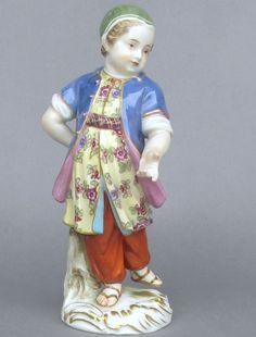 Meissen Model: 139        Description: Girl in Turkish Costume   Modeled By: Johann Joachim Kaendler ca. 1750  Mark: 139       Painter Number: 7 - Max Bauchelt    Height: 5.0 in - 12.7 cm  Notes: 200 Years Anniversary Mark June 6th 1920 to June 5th 1911