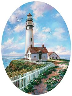 Unique Shaped jigsaw puzzles are fun for kids and adults. Dare to take this jigsaw puzzle challenge? Sunsout Puzzles, Lighthouse Painting, Lighthouse Pictures, Beach Art, Acrylic Painting Canvas, Rock Art, Painting Inspiration, Landscape Paintings, Photo Art