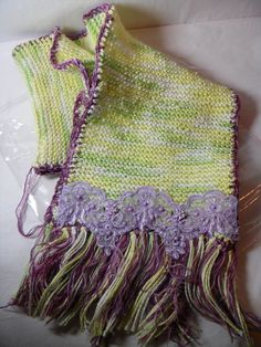 b6d62e8d232 2nd in the Decorated Scarves Series - Variagated Shades of Lime and Purple