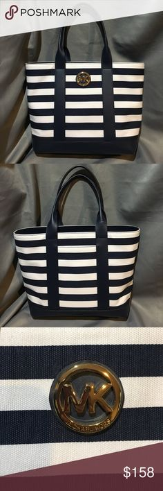 NWT Michael KORS Striped Canvas Tote NWT Michael KORS Striped Canvas Tote. Navy and White with a gold decal. Small pocket on back, great for a cell phone. Pockets inside.  Measures approx 14x10x5. Handle drop is approx 6.5 inches. MICHAEL Michael Kors Bags Totes