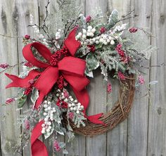 Wreath Red Burlap Wreath Berry Wreath with Sparkle Icy Holly  Greenery Realistic Artificial  Wreath with Burlap