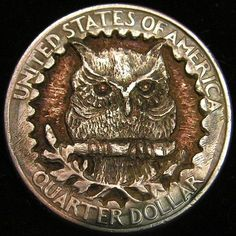 BEN WELLS HOBO QUARTER - BOVINE SKULL - 2007 STATE QUARTER State Quarters, Quarter Dollar, Wells, Buffalo, Skull, Carving, Personalized Items, Wood Carvings, Sculptures