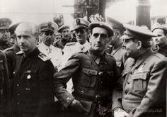 Muñoz Grandes, Serrano Suñer, partida de la División Azul, Madrid 1941, repro de foto histórica- CLC (Militar - Fotografía Militar - Otros)