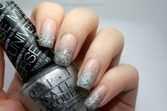 Essie - Sugar Daddy, Depend - 223, OPI - This Gown Needs A Crown, OPI - Snowflakes In The Air, China Glaze - Fairy Dust