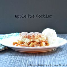 Apple Pie Cobbler Skillet. Cinnamon apple filling covered with a crust that is a mix between pie crust and a biscuit.