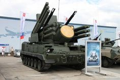 The Pantsir-S1: A combined short-to-medium range surface-to-air missile and anti-aircraft missile system. The system consists of 12 surface-to-air guided missiles and two 30-mm automatic guns effective against planes, helicopters, ballistic missiles, and cruise missiles.