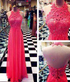 Halter Backless Floor-Length Charming Prom Dresses,A-Line Lace Floor-Length Evening Dresses, Prom Dresses, Real Made Prom Dresses On Sale,