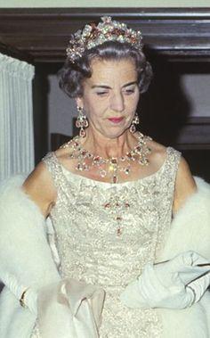 royalwatcher:  Queen Ingrid of Denmark wearing the Ruby Parure Tiara