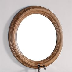 round bathroom mirror - solid alder frame