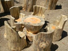 Kids carved log chairs and tables by SweetLog on Etsy
