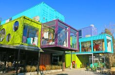 London's got one, New York's got one, and now Buenos Aires has a hip mall built with stacked shipping containers. Designed by BZZ Arquitectura, the QUO Container Center is comprised of 57 colorful painted steel boxes that shelter a small community of loca Container Restaurant, Container Office, Container Shop, Cargo Container, Container Design, Container Architecture, Container Buildings, Prefab Shipping Container Homes, Shipping Containers For Sale