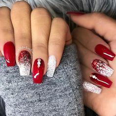 Christmas gel nails, christmas nail art designs, winter nails, red summer n Christmas Gel Nails, Christmas Nail Art Designs, Holiday Nails, Red Nail Designs, Winter Nail Designs, Red Wedding Nails, Wedding Makeup, Winter Wedding Nails, Bridal Nails