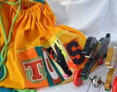 TOYS Drawstring Upcycled Huge Project Bag Ready to Ship ONE Repurposed Ready to Ship.