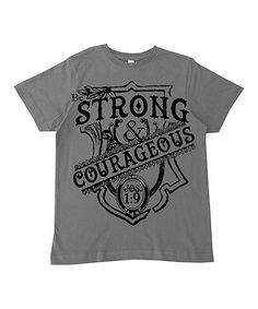 Take a look at this Micro Me Charcoal 'Strong & Courageous' Tee - Toddler & Boys today!