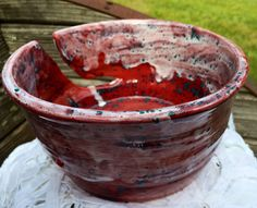 Large Hand Thrown Yarn Bowl Custom Made by TheFathersMarket