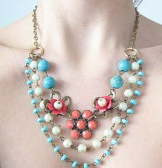 Flower Necklace, Vintage Jewelry, Beaded Necklace, Turquoise Jewelry, Coral Necklace, Statement Jewelry. $51.00, via Etsy.