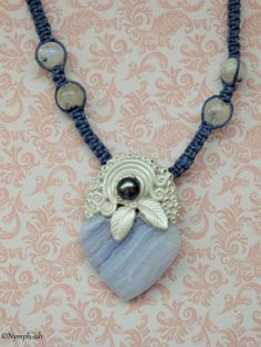 CALL of the SEA Blue Lace Agate Freshwater PEARL Necklace by Nymph-ish ooak peace calm serenity Rainbow Moonstone